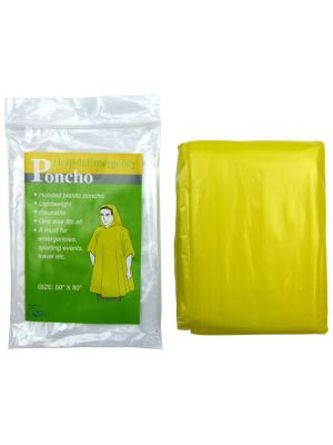 Disposable Plastic Poncho in Yellow