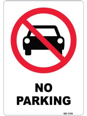 NO PARKING 340 x 240mm Screenprinted on PVC