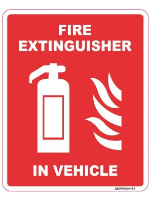 Fire Exting in Vehicle Sticker - 120mm x 150mm
