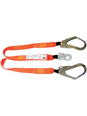 2m Double Leg Shock Lanyard with 1 x Double Action Hook & 2 x Scaff Hooks