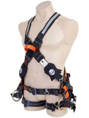 3XL LIVE WIRE Premium Cross Over Tower Harness. Adjustable Pole Strap Attachment + Alloy QR Buckles + Padded Waist, Chest and Seat.