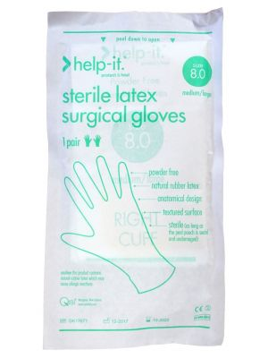Help-It Sterile Powder Free Latex Gloves Size 8