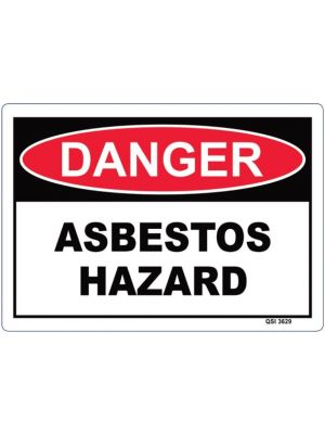 DANGER ASBESTOS HAZARD 340 x 240mm Screenprinted on PVC