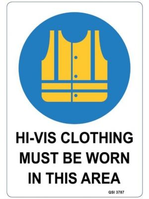 Hi-Vis CLOTHING MUST BE WORN 450x300mm Aluminium