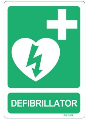 DEFIBRILLATOR 340 x 240mm Screenprinted on PVC