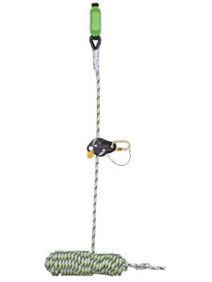 Guided Fall Arrest Device on Flexible Anchorage Line with Energy Absorbing Block