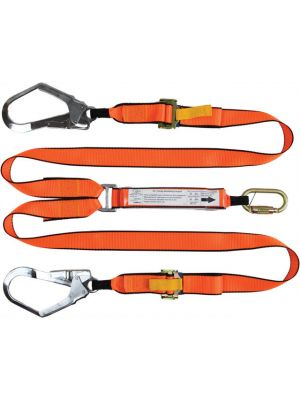2m Adjustable Twin Leg Lanyard with 1 Carabiner and 2 Scaffold Hook