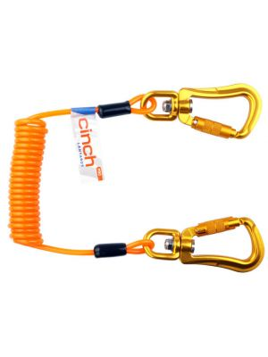 Orange Elasticated Lanyard with Aluminium Swivel Twist Lock Hooks - 197cm