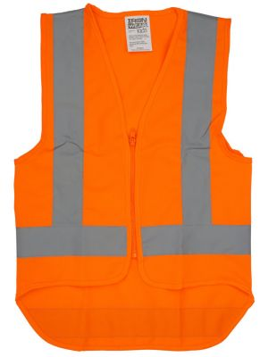 Childrens Vest Hi-Vis (with refl. tape) - Orange - Size Medium